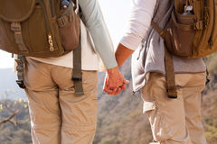 Couple holding hands hiking. Back view of couple holding hands hiking in mountain stock image