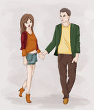 Couple Holding Hands. Illustration of a Stick Figure Couple Holding Hands While Walking Stock Photos