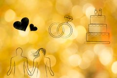 Couple holding hands with lovehearts icon wedding rings and cake Royalty Free Stock Image