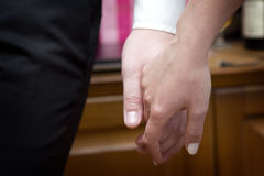 Couple holding hands. A man holds a woman's hand Royalty Free Stock Image