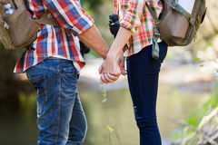 Couple holding hands mountain Royalty Free Stock Photo