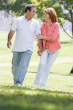 Couple holding hands outdoors by lake smiling Royalty Free Stock Image