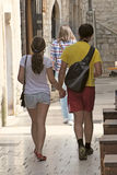 Couple holding hands outdoors Stock Images