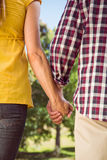 Couple holding hands in the park Stock Photography