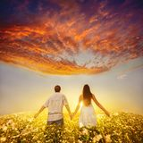 Couple holding hands and walks away Royalty Free Stock Image