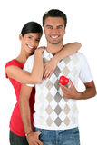 Couple holding a heart Stock Images