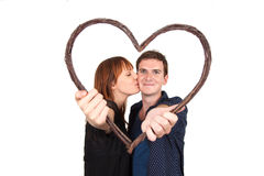 Couple holding heart shape Stock Image