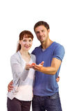 Couple holding out their hands Royalty Free Stock Photography