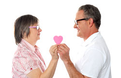 Couple holding paper heart. Smiling at each other Royalty Free Stock Photography