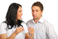 Couple  holding pregnancy test Royalty Free Stock Photography