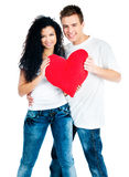 Couple holding a red heart Stock Image
