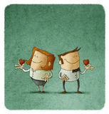 Couple holding red hearts. Illustration of smiling adult couple holding red hearts in hands Stock Photography