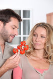 Couple holding tomatoes Stock Images