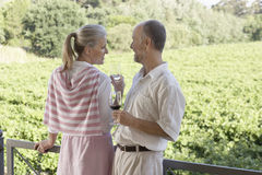 Couple Holding Wine Glasses In Front Of Vineyard Stock Photography