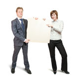 Couple holds blank canvas Stock Image
