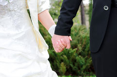 Couple holds hands Stock Images