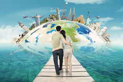 Couple Holiday on The Worldwide Monuments Stock Photos