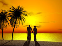 A couple holing hands in sunrise. Silhouette of a couple holding hands in sunrise Royalty Free Stock Image