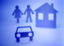 Couple Home and Car Cutout royalty free stock photos