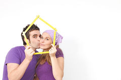 Couple home decorating and repairs Royalty Free Stock Photography
