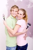 Couple home DIY Royalty Free Stock Images