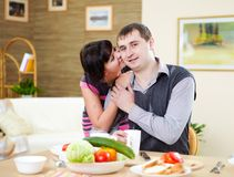 Couple at home having meal Stock Photo