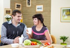 Couple at home having meal Royalty Free Stock Photography