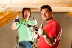 Couple in home improvement Stock Images