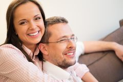Couple in home interior Royalty Free Stock Image