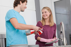 Couple in home kitchen. Spending free time together Royalty Free Stock Photo
