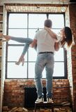 Couple at home stock photography