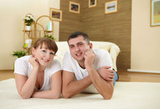 Couple at home relaxing Royalty Free Stock Photography