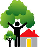 Couple home tree Stock Images