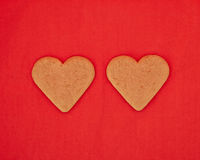 A couple of homemade heart shaped cookies Royalty Free Stock Image