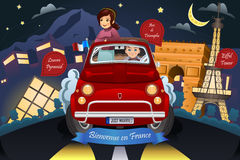 Couple Honeymoon Around France royalty free illustration