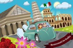 Couple Honeymoon Around Italy. A vector illustration of happy couple honeymoon around Italy vector illustration