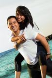 Couple honeymoon at beach Royalty Free Stock Image