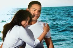 Couple honeymoon at beach Stock Images