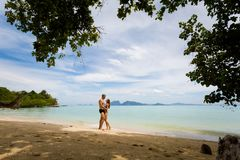 Couple on honeymoon Koh Kradan stock photography
