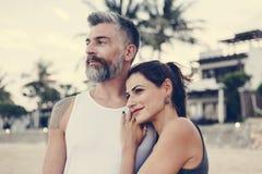 Couple on a honeymoon trip stock image