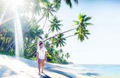 Couple Honeymoon Tropical Beach Romantic Concept Stock Photography