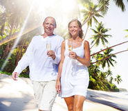 Couple Honeymoon Tropical Beach Romantic Concept.  Stock Photo