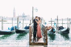 Couple on a honeymoon in Venice.  stock photo