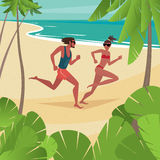 Couple on honeymoon. Young cute couple in swimsuits frolics on the beach - Honeymoon or love concept Royalty Free Stock Photography