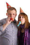 Couple with horns. Two people with horns isolated on the white background Royalty Free Stock Images