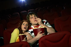 Couple at horror film Stock Image