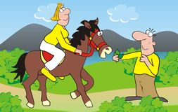 Couple-horse. Woman and man on vacation. Woman riding a horse. Humorous illustration Stock Image