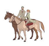Couple horseback riding. Lovers guy and girl on horses in tweed suit. Hand drawn colorful vector illustration. Royalty Free Stock Photos