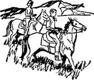 Couple Horseback Riding 3 Stock Photography