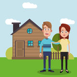 couple with house home image Stock Image